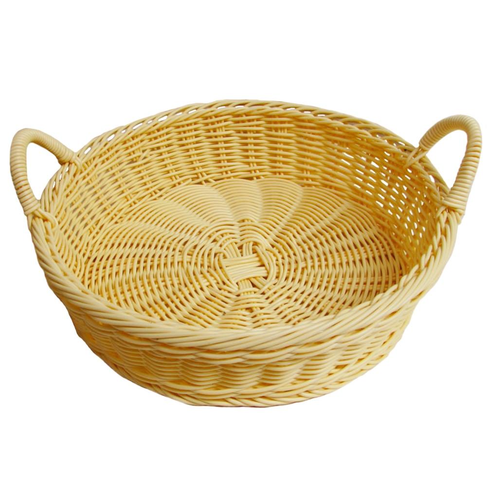 Holder Storage Basket Imitation Rattan Fruit Display Practical Beige Decorative Round Bread Hand Woven