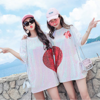 #4226 White Long T Shirts With Sequins Women 2019 Summer Love 3d Sequins T Shirt Short Sleeves Casual Oversize Loose Streetwear