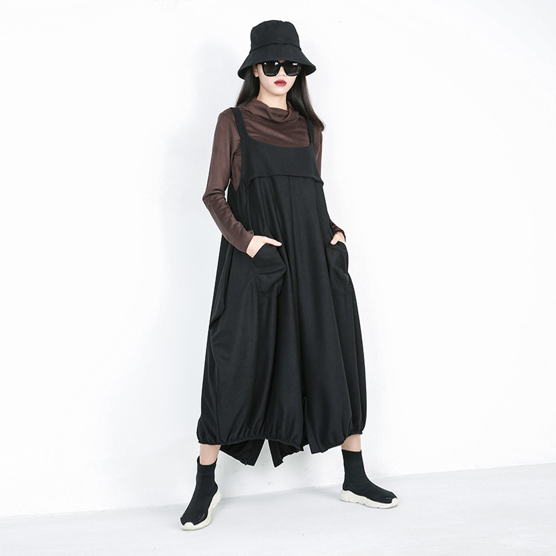 LANMREM 201 new spring fashion women clothes loose free size Straps   Wide     Leg     Pants   Hip Hop pocket pleated WC58101 trousers
