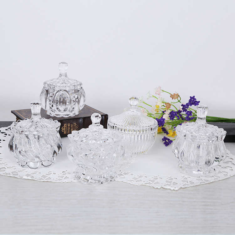 Creative Glass Candy Jar European High End With Crystal Sugar