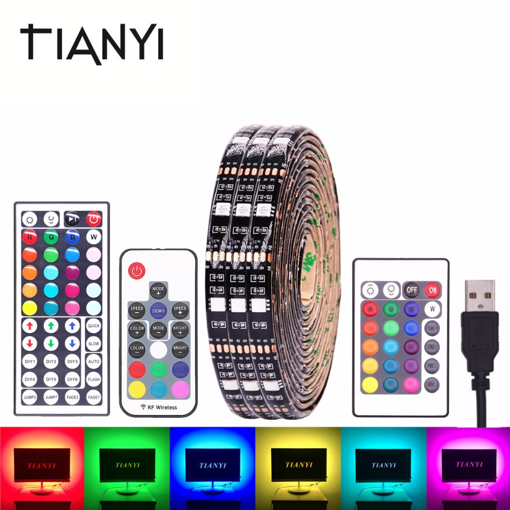 RGB LED Strip Waterproof 5050 DC 5V USB LED Light Strips Flexible Neon Tape Bias Lighting Backlight With Remote TV Background