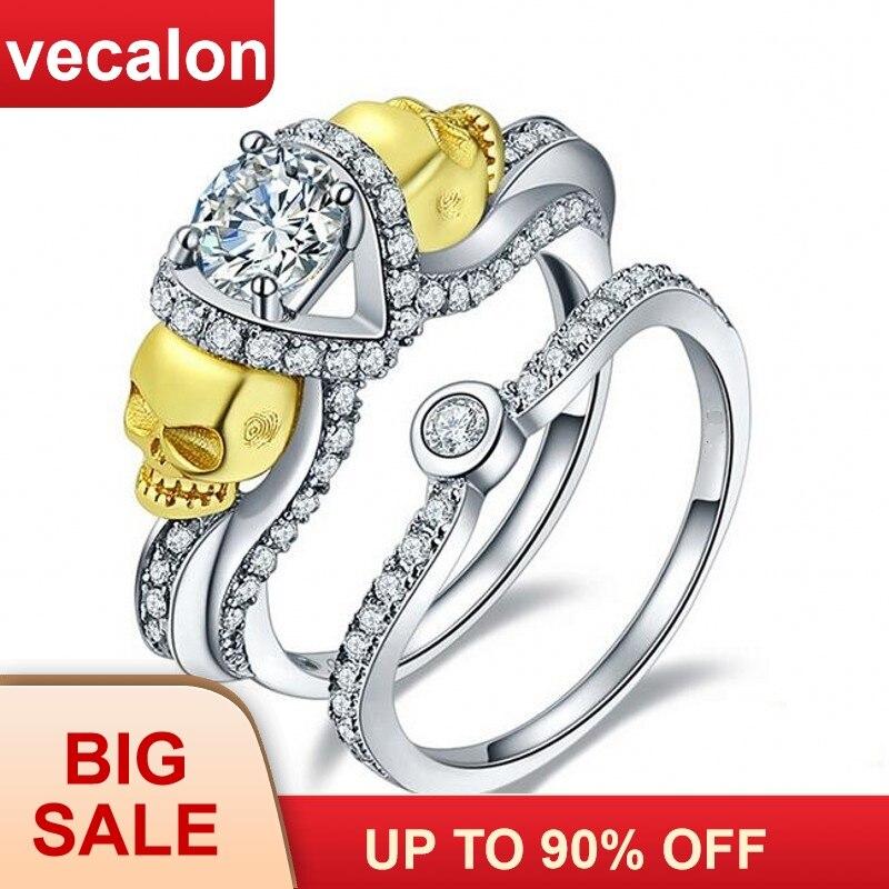 Vente en gros livraison directe 7 Styles Vecalon crâne bijoux 3ct AAA Zircon bague de mariage pour les femmes noir or rempli bague