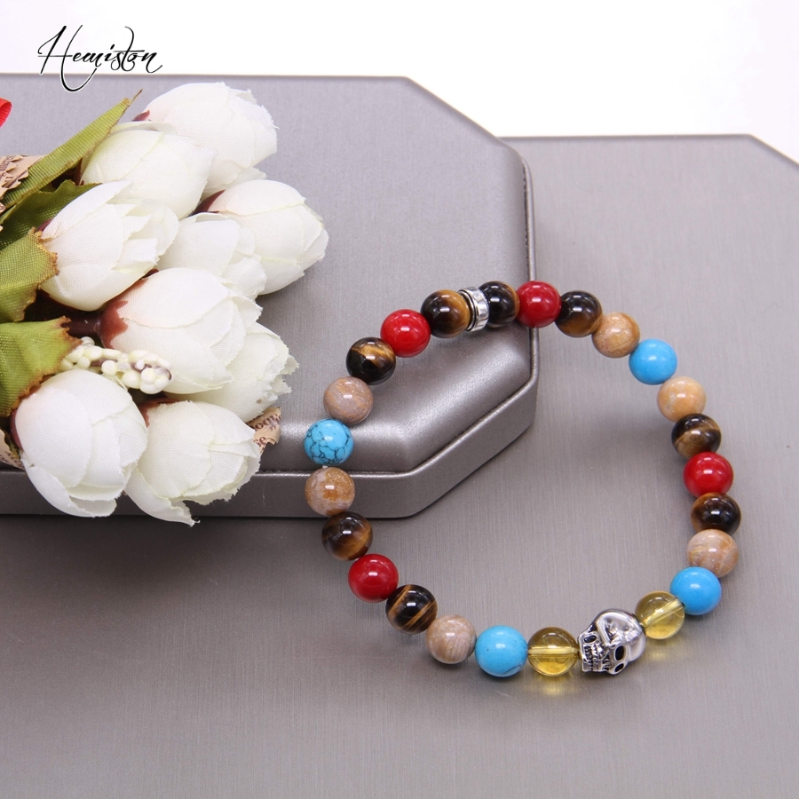Hemiston Thomas Colorful Material Mix Featuring Skull Bead Bracelet, Glam Jewelry Soul Gift for Women TS 93