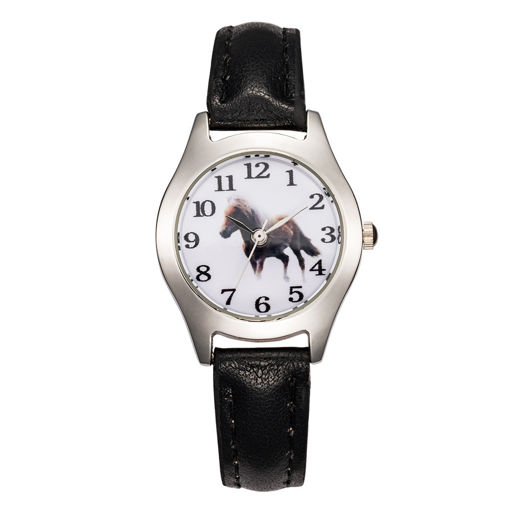 Brand 1pcs Rose Leather Cute Lovely Girl Ladies Women's Watch Children's Gift Horse Quartz Student Kids Animal Wristwatch