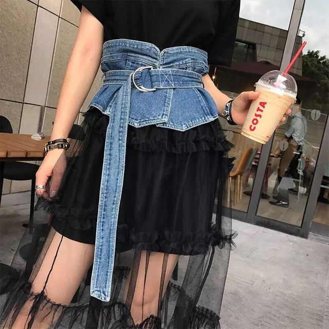 2019 New Korean Long Harajuku Double D Ring Belt Female Wide Retro Denim Jeans Corset Waist Band Belts for Women Dress Cinturon
