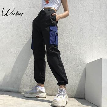 Sexy Fashion Pockets Patchwork Pants Women's High Waist Black Streetwear Pencil Pants Ankle-length Woven Trousers Women