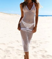 Fishnet Beach Dress Solid Crochet Beads Glitter Beach Cover Ups Sexy Bikini Cover Up Shiny Beachwear Twinkling Mesh Beach Covers
