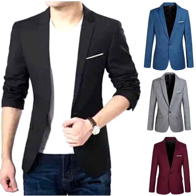 גברים של עסקים מקרית Slim Fit פורמליות כפתור אחד חליפה בלייזר מעיל Jacket למעלה גברים יחיד כפתור חכם מקרית טרייל