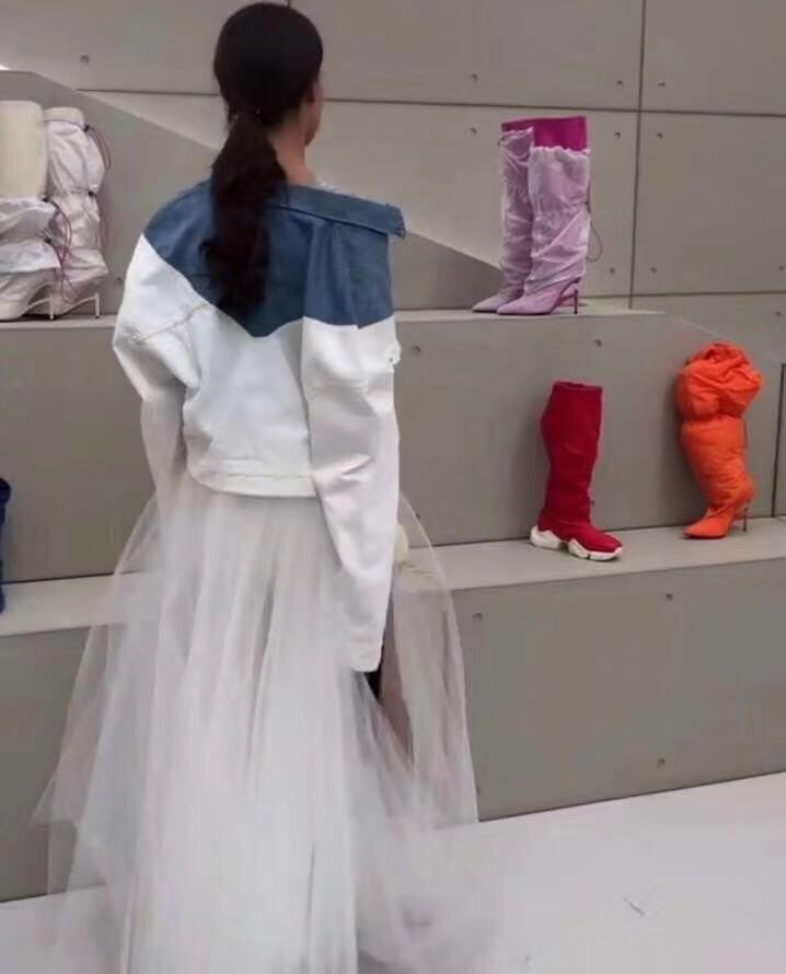 2019 noir Beige Nouveau Femmes Jupes Cowboy Maille Coréenne D'été Et Filles Printemps Style Denim blanc Jupe Longue Ins arwaq