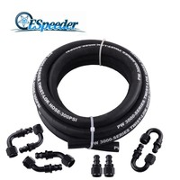 ESPEEDER 1Set AN6 0+45+90+180Degree Puse On Fuel Fittings Hose End & 3M Rubber CPE Oil Fuel Hose Line Pipe Oil Cooler Kit