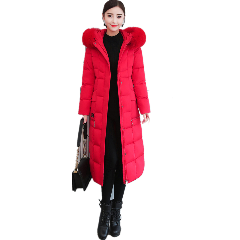 Natural Fox Fur Collar Long White Duck   Down   Jacket Female   Down     Coats   Women Hooded Warm Thick Parka Plus Size Puffer Outerwear