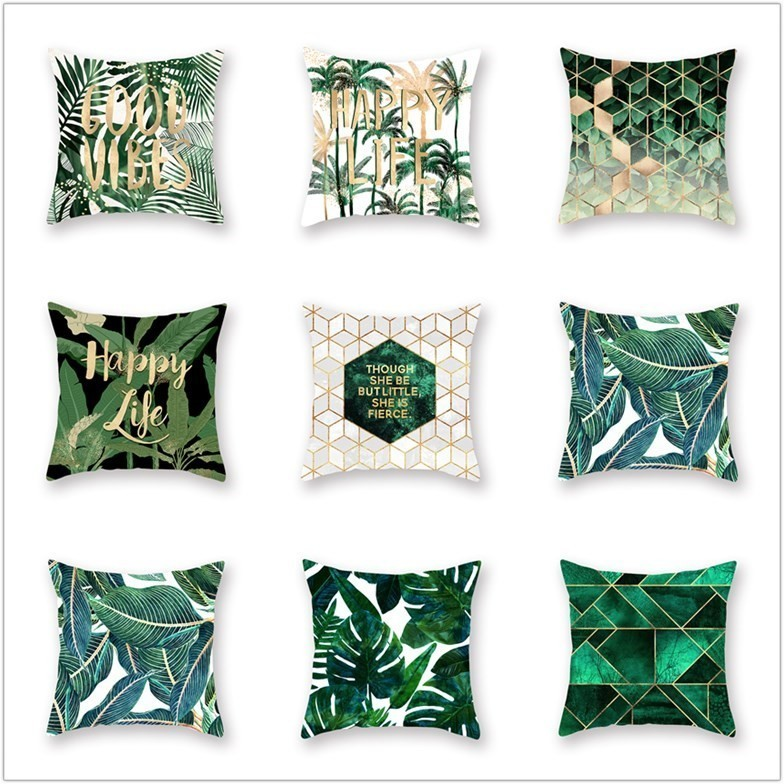 Polyester Decorative Pillowcases Green Leaves Throw Pillow Case Tropical Plants Pillow Cover Home Summer Style Cushion Cover