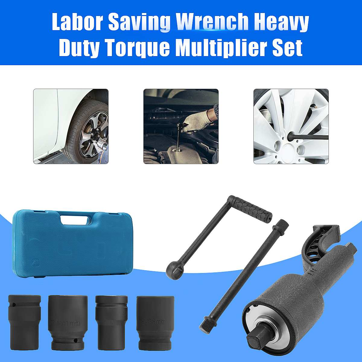 7PCS Torque Multiplier Wrench Lug Nut Lugnuts Remover Labor Saving Socket Tire Tools Kit Car Wash Maintenance Engine Care