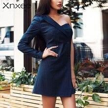 Xnxee One shoulder brief robe blazer dress women Casual blue striped female Button short autumn winter vestidos