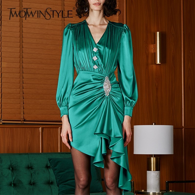 TWOTWINSTYLE Spring Irregular Dress Female V Neck Puff Sleeve High Waist Diamonds Dresses For Women Elegant