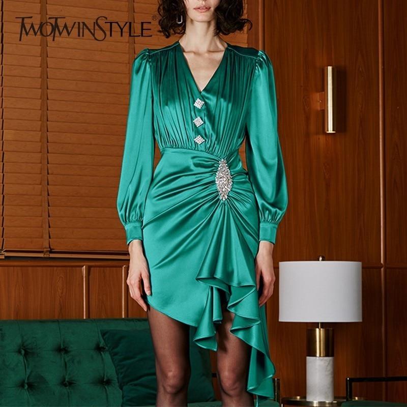 TWOTWINSTYLE Spring Irregular Dress Female V Neck Puff Sleeve High Waist Diamonds Dresses For Women Elegant