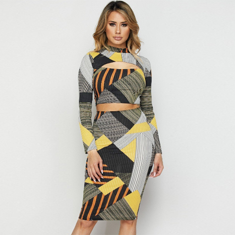 Sexy Women Geometric Striped Print Two Piece Set Hollow Out Turtleneck Long Sleeve Crop Top High Waist Skirt Outfits