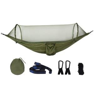 Image 1 - アーミーグリーンクイックオープンハンモック蚊屋外キャンプ椅子ポータブル大睡眠ハンモック