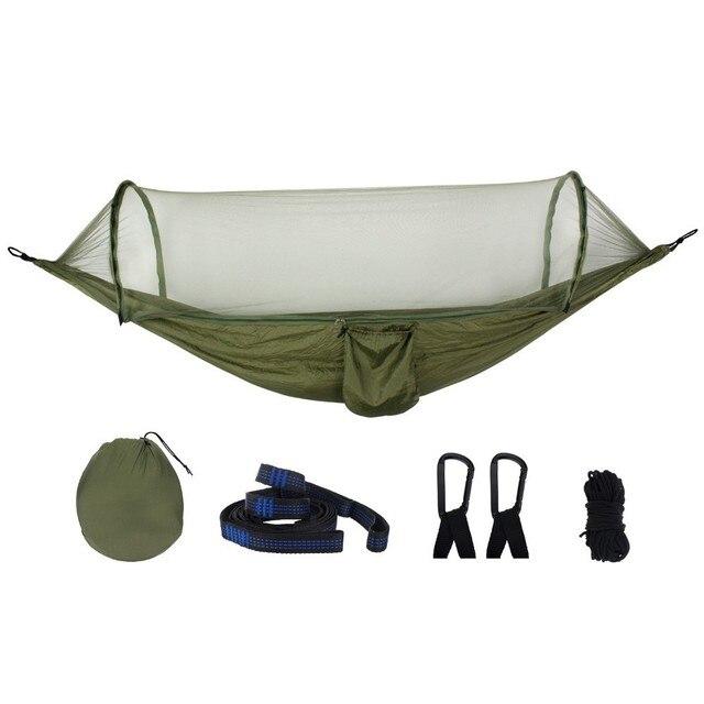 アーミーグリーンクイックオープンハンモック蚊屋外キャンプ椅子ポータブル大睡眠ハンモック