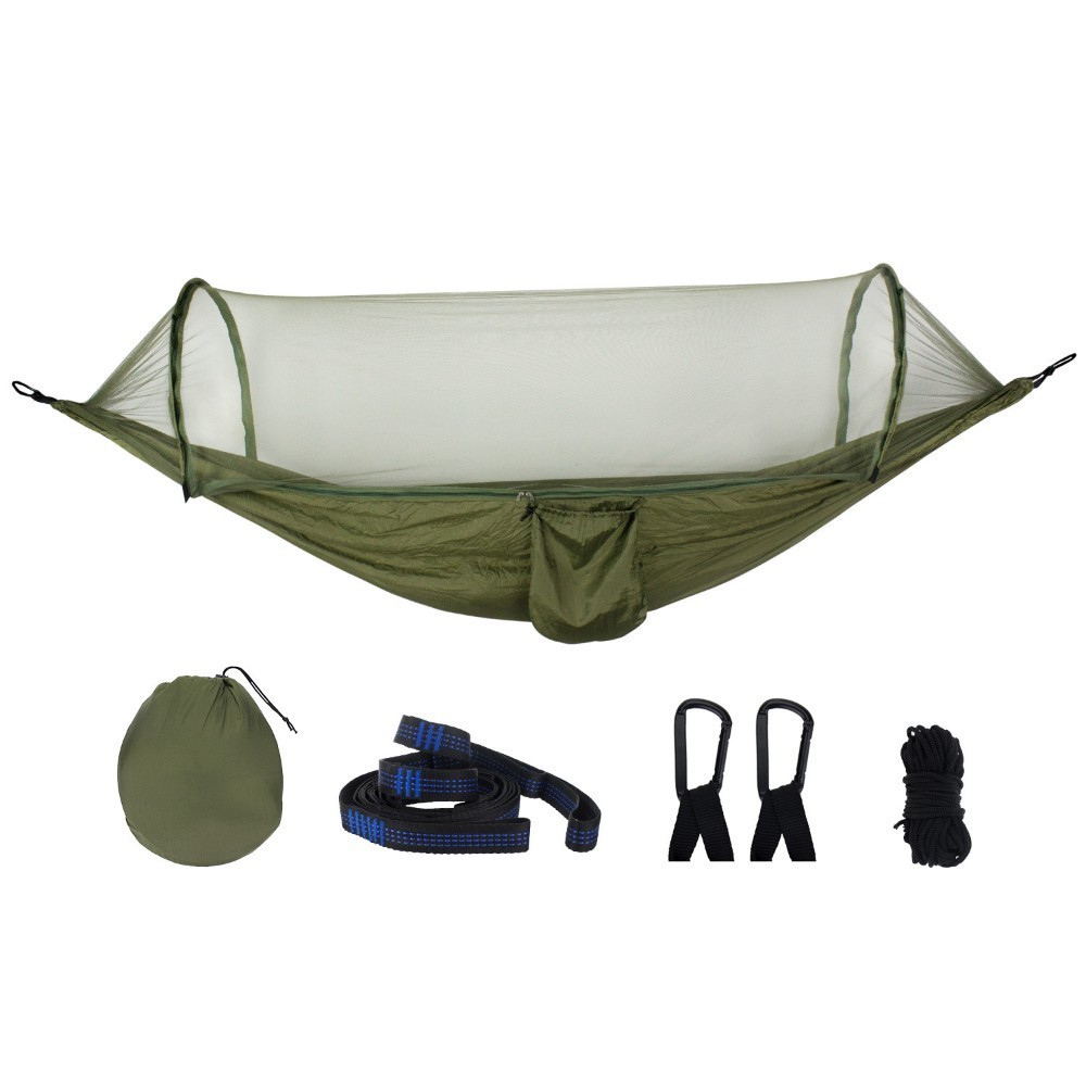 Army Green Quick Open Hammock Anti-mosquito Outdoor Camping Hanging Chair Portable Large Sleeping Hammock