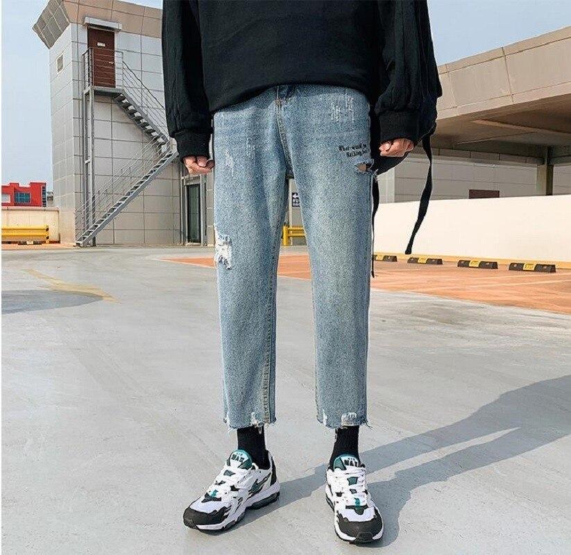 2019 Korean Style Men's Restore Holes Casual Pants Tide Baggy pantalon Homme jean Classic Jeans men Blue Color Denim Trousers