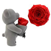Everlasting Rose Bear Hug Flower Doll With Artificial Flower Pot Vase For Valentine's Day Ornament Decoration