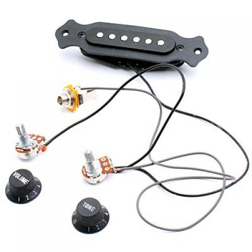 Single Copper Coil Guitar Magnetic Pickup Pole Acoustic W/ Volume Control Tone Control Knob Passive/Active Switch