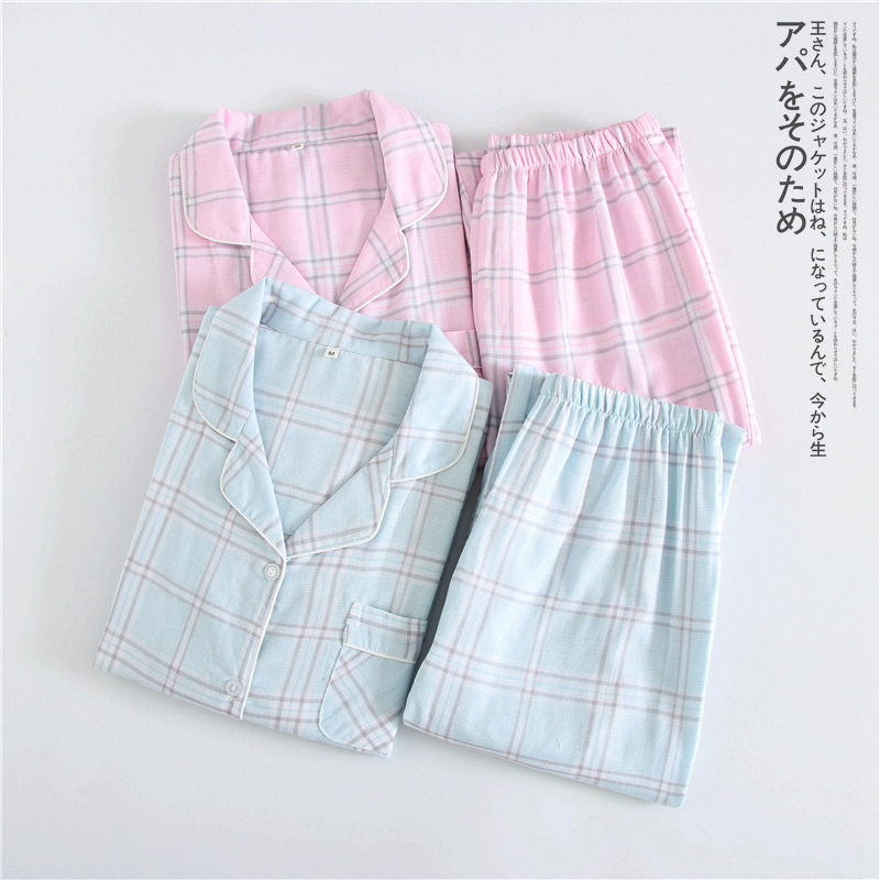 100% Cotton Pajamas Women Long Sleeve Pajamas Household To Take Plus Size Pijama Mujer Plaid Pajama Set Womens 2 Piece Sleepwear