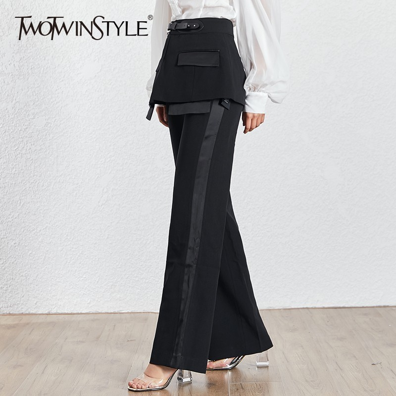 TWOTWINSTYLE Casual Solid Women Trousers High Waist With Sashes Patchwork Big Size Wide Leg Pants Female Fashion Summer 2020