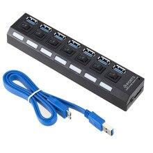 HUB USB 3,0 4/7 puertos Micro USB 3,0 divisor de HUB con adaptador de corriente USB AB de alta velocidad 5 Gbps USB divisor 3 HUB para PC