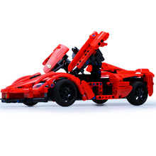 Cada Double E 1/14 Scale 380pcs Radio Remote Control Model Car Red High Speed RC Car Open Doors Children Kids Building Blocks 27mhz 2 ch 1 14 scale a key switch doors steering wheel remote control car w lamp red black