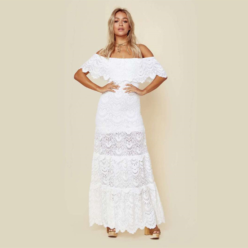 Women Dress Sexy Lace Off Shoulder Slash Neck White Dress Party Night Beach Dresses Spring Long Dresses 2019 YOUNGER TREE
