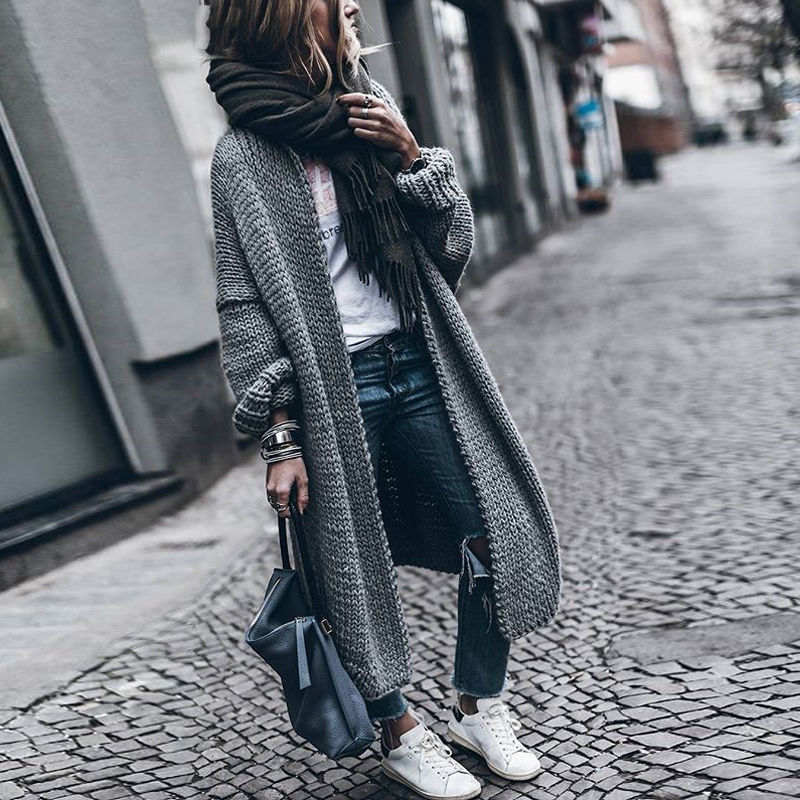 CHICEVER 2019 Batwing Sleeve Long Female Sweater For Women Loose Big Size Knitting Autumn Cardigan Sweaters