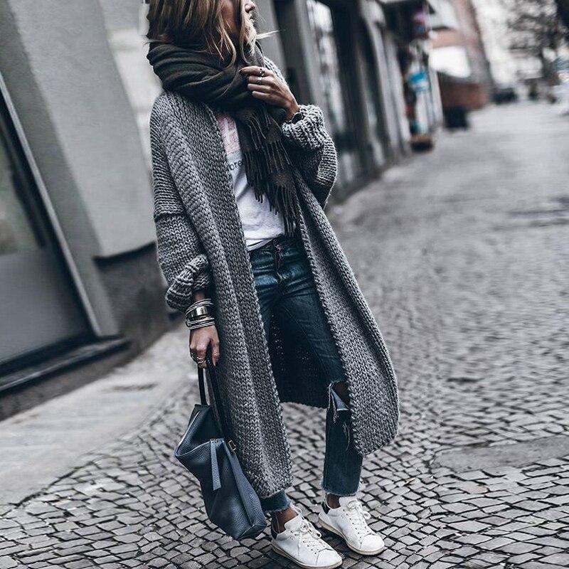 CHICEVER 2017 manches chauve-souris Long femme chandail pour les femmes lâche grande taille tricot automne Cardigan chandails vêtements mode nouveau