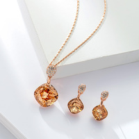 Qggle Orange Crystal Geometric Pendant Jewelry Sets For Women Trendy Rhinestone Stud Earrings Rose Gold Chain Necklace Sets