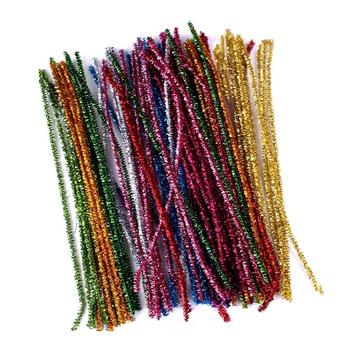 100Pcs Chenille Sparkly Stems Pipe Cleaner 30-CM Mixed Pack DIY Toys Children Adult  Glitter Tinsel Creative Arts Chenille Craft