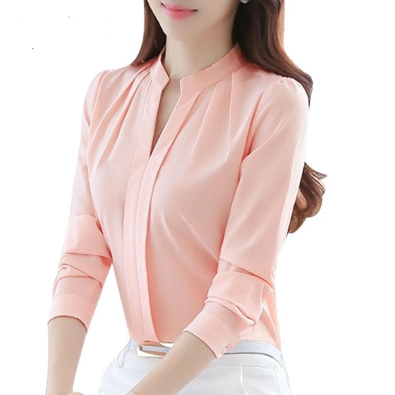 Блузка женская шифоновая с длинным рукавом и треугольным вырезом