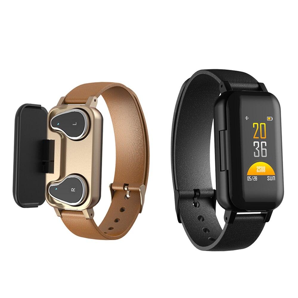 2 en 1 T89 TWS intelligent Binaural Bluetooth écouteur Bracelet de Fitness Bracelet intelligent casque moniteur de fréquence cardiaque montre de sport