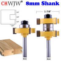 """2 piezas 8mm vástago alta calidad gran lengua y ranura conjunto de brochas de ensamblaje 1-1/2"""" herramienta de corte de madera-CHWJW"""