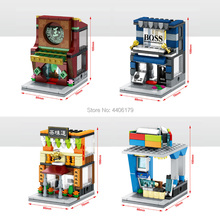 цена на hot city mini Street view series Jade shop Computer system store teahouse moc Building Blocks model brick toys for children gift