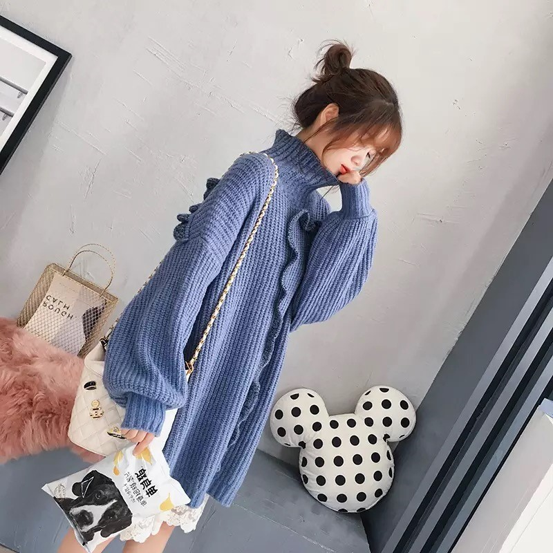 Solid Above Ruffle white 2018 Collar Knee Pullover Women Blue Sweater Knitting Dress Lanmrem Autumn Ta533 Color Female creamy Winter High apricot PxOqdwH0