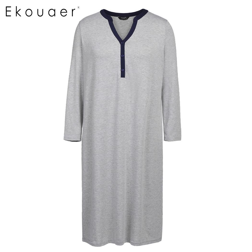 Ekouaer Plus Size Night Dress Women V-Neck Long Sleeve   Sleepshirts     Nightgown   Button Loose Calf Long Home Sleep Dress XL-5XL