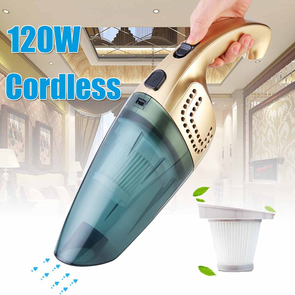 120W Portable Home Car Cordless Vacuum Cleaner Rechargeable Dust Collector Sweeper Dual Use Dry/Wet 220V 2600mAh Vacuum Sweeper120W Portable Home Car Cordless Vacuum Cleaner Rechargeable Dust Collector Sweeper Dual Use Dry/Wet 220V 2600mAh Vacuum Sweeper