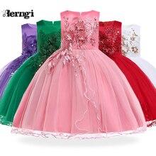 Berngi/летнее платье для девочек; новогодние вечерние праздничные костюмы Санты; Детские праздничные платья; детская одежда
