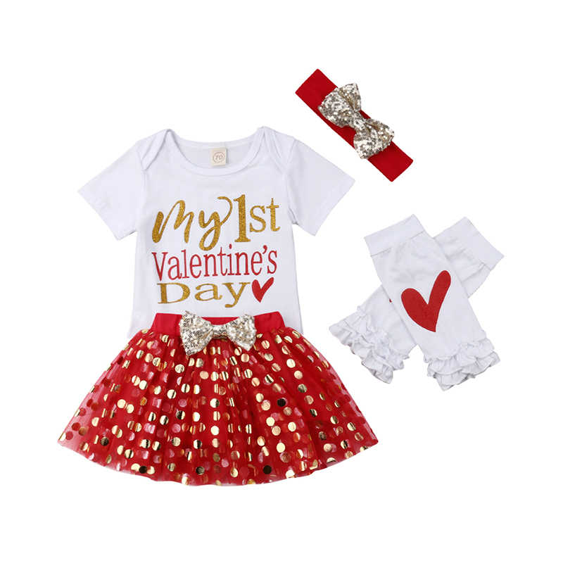 9416d7a5123f Newborn My First Valentine Day Clothes Baby Girl Infant Romper Tops+Dot  Skirt Dress+