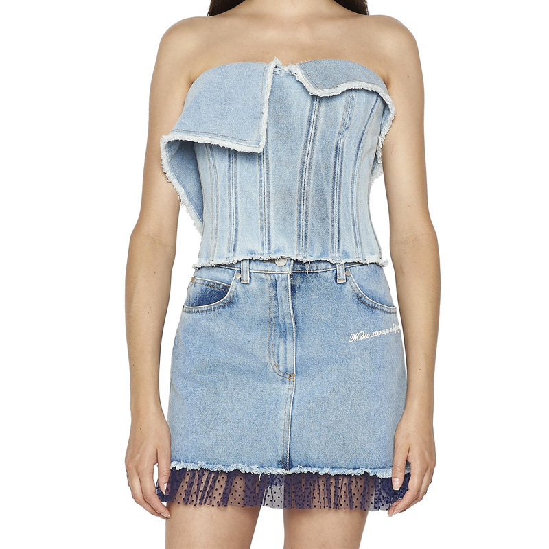 Asymmetrical Washed Wc16705l Tassels Clothes Deat Denim Light Spring Female Summer Wrapped Women Fashion And 2019 Heavy New Bust Blue wwzCq7a