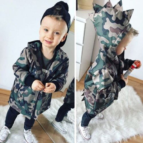 UK Stock Toddler Kid Baby Boy Camouflage Dinosaur Zipper Coat Top Hooded Outwear