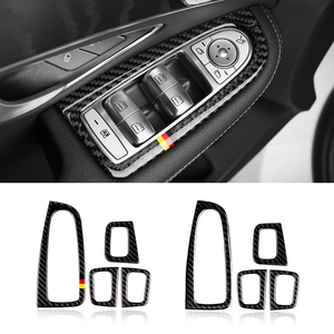 Image 2 - Dla Mercedes Benz klasy C W205 C180 C200 C300 GLC260 4 sztuk z włókna węglowego przełącznik okna samochodu pokrywa na podłokietnik samochodowy