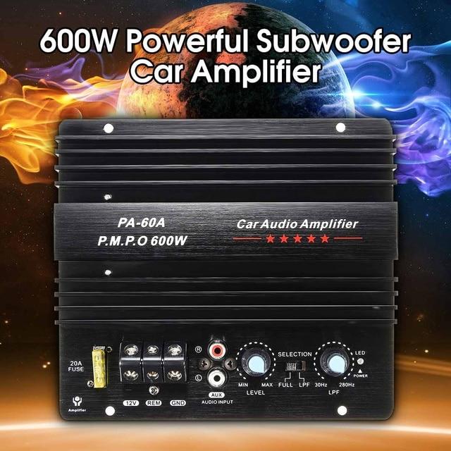 12V 600W Mono Car Audio Power Amplifier Powerful Bass Subwoofers Amp PA-60A Black Car Amplifier Board