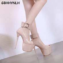 GBHHYNLH Women Pumps Shoes Super High Heels Sexy Fashion Thin Heels Platform Spring Autumn Buckle Peep Toe Party shoes LJA691 mary jane chunky high heels platform buckle women s pumps fashion party spring autumn spring shoes